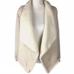 Hollister Cardigan XS Fleece Lined Open Cream